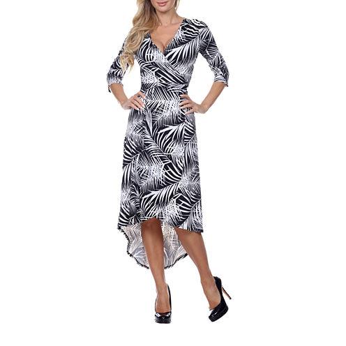 White Mark Hawaiian Ola 3/4 Sleeve Wrap Dress