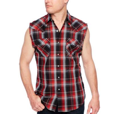 3efa3b6d71bcbf Ely Cattleman Sleeveless Plaid Snap Front Shirt JCPenney