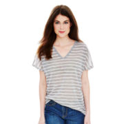 Joe Fresh™ Short-Sleeve Striped V-Neck T-Shirt
