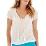 St. John's Bay® Short Sleeve Eyelet Peasant Top