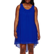 My Michelle® Sleeveless Lace-Back Chiffon Dress - Juniors Plus