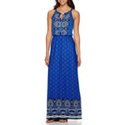 Luxology Sleeveless Placed Print Blouson Maxi Dress