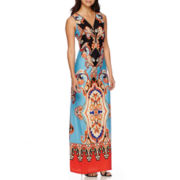 MSK Paisley Scroll Print Zip-Front Maxi Dress