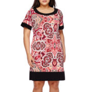 Ronni Nicole Short-Sleeve Paisley T-Shirt Dress - Plus