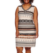 Studio 1® Sleeveless Embellished Tribal Print Shift Dress - Plus
