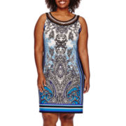 Studio 1® Sleeveless Embellished Neck Paisley Sundress - Plus