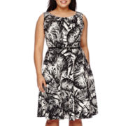 Alyx® Sleeveless Inverted-Pleat Belted Fit-and-Flare Dress - Plus