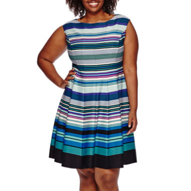 jcpenney.com | Danny & Nicole® Sleeveless Stripe Fit-and-Flare Dress - Plus