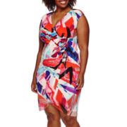 London Style Collection Cap-Sleeve Ruched-Side Sheath Dress - Plus