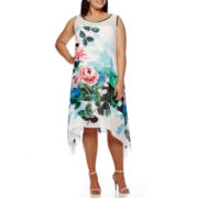 Robbie Bee® Sleeveless Floral Mesh-Insert Sheath Dress - Plus