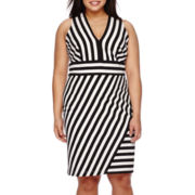 Bisou Bisou® Sleeveless V-Neck Striped Sheath Dress - Plus