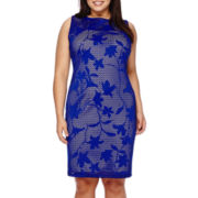 Bisou Bisou® Sleeveless Laser-Cut Sheath Dress - Plus