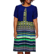 Danny & Nicole® 2-pc. Short-Sleeve Tribal Jacket Dress - Plus