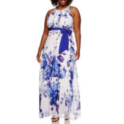 R&K Originals Sleeveless Floral Belted Maxi Dress - Plus