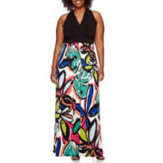 London Style Collection Sleeveless Floral Maxi Dress - Plus