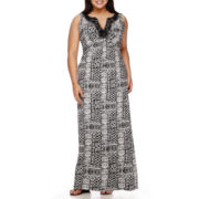 Ronni Nicole Sleeveless Embellished Neck Maxi Dress - Plus