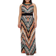 Ronni Nicole Sleeveless Embellished Neck Keyhole Maxi Dress - Plus
