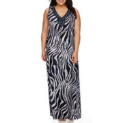Jennie and Marlis Sleeveless Beaded Trim Neck Zebra Print Maxi Dress - Plus