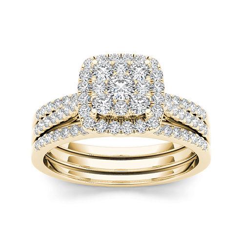 1 CT. T.W. Diamond Cluster 10K Yellow Gold Bridal Ring Set