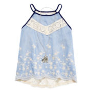 Beautees Lace-Back Tank Top with Necklace - Girls 7-16