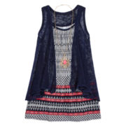 Beautees Tank Top, Cozy Sweater and Necklace - Girls 7-16
