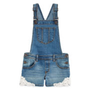 Arizona Crochet-Accent Denim Shortalls - Girls 7-16 and Plus