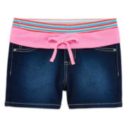 Squeeze Striped Stretch-Denim Shorty Shorts - Girls 7-14