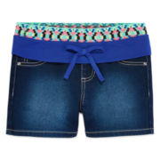 Squeeze Aztec Stretch-Denim Shorty Shorts - Girls 7-14