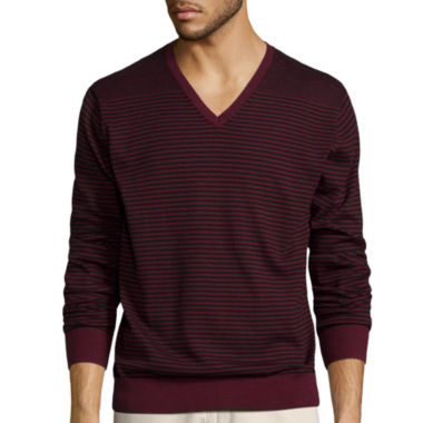 jcpenney.com | Claiborne® Long-Sleeve Striped V-Neck Sweater