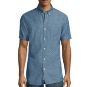 Lee® Short-Sleeve Chambray Pocket Button-Front Shirt