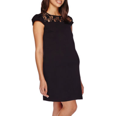 jcpenney.com | Maternity Cap-Sleeve Crochet Dress
