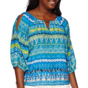 by&by Long-Sleeve Printed Peasant Cold Shoulder Top - Plus