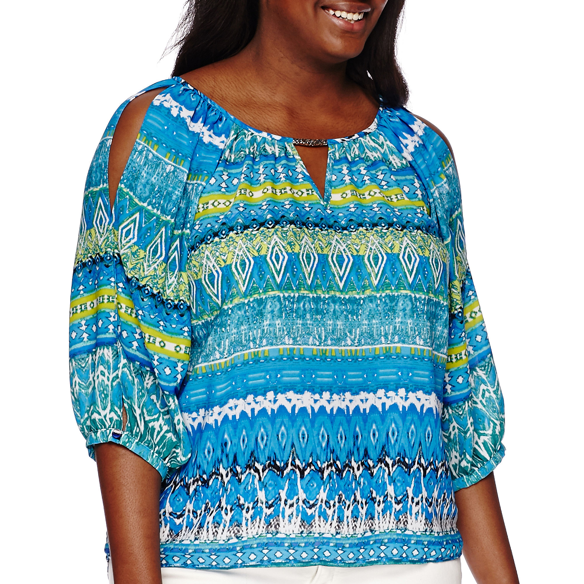 by & by Long-Sleeve Printed Peasant Cold Shoulder Top - Juniors Plus plus size,  plus size fashion plus size appare