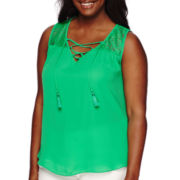 By & By Sleeveless Lace Yoke Peasant Top - Plus