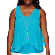 by&by Sleeveless Knit-to-Woven Necklace Top - Plus
