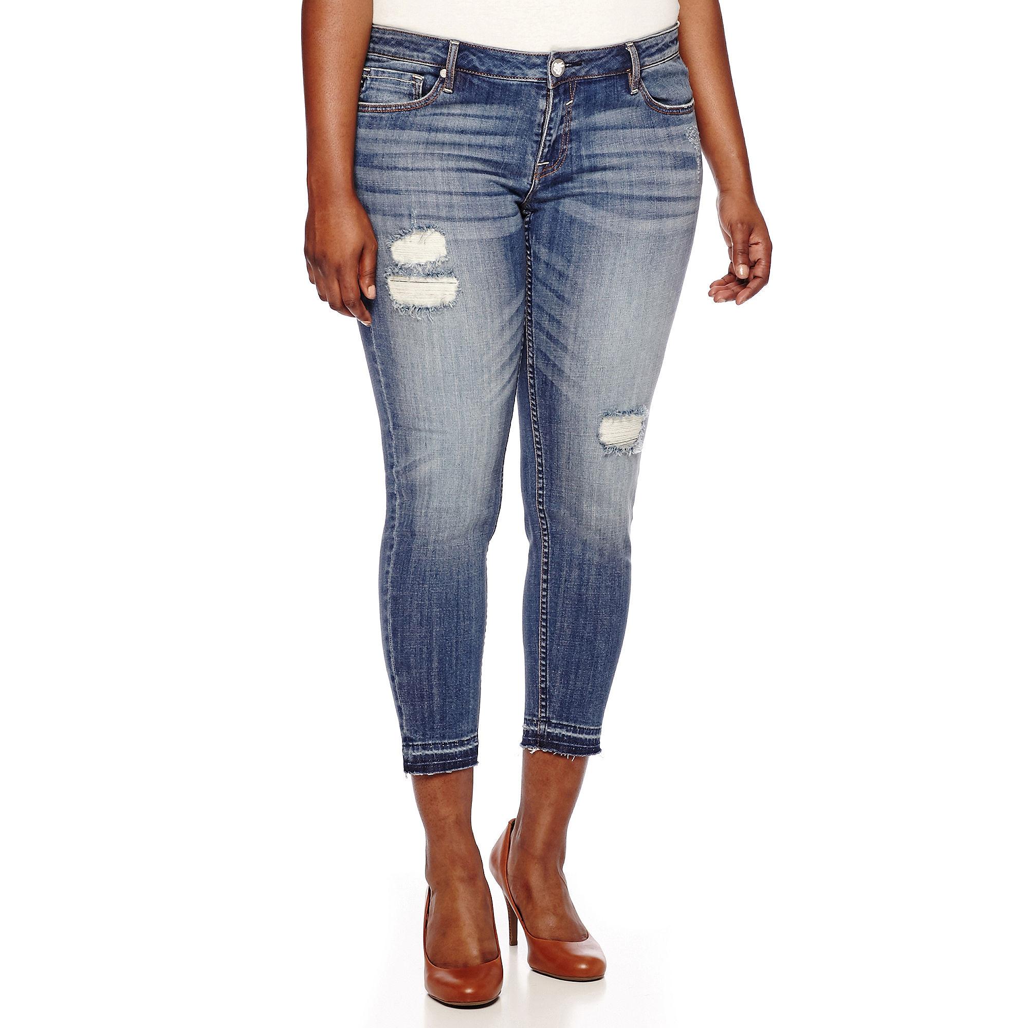 Yaso Released Hem Skinny Jeans - Juniors Plus plus size,  plus size fashion plus size appare