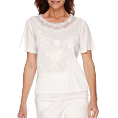 jcpenney.com | Alfred Dunner® White Now Short-Sleeve Embroidered Trim Top