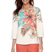 Alfred Dunner® 3/4-Sleeve Cozumel Tropical Print Top
