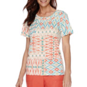Alfred Dunner® Short-Sleeve Cozumel Patchwork Print Top