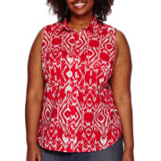 St. John's Bay® Sleeveless Button-Front Top - Plus