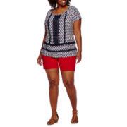 St. John's Bay® Short-Sleeve Lace Fringe Top or Cargo Shorts - Plus