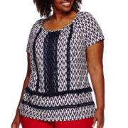 St. John's Bay® Short-Sleeve Lace Fringe Top - Plus