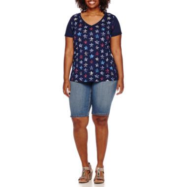 jcpenney.com | St. John's Bay® Short-Sleeve Modal Tee or Denim Bermuda Shorts - Plus