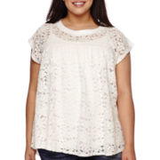 Boutique+ Short-Sleeve Lace Top - Plus