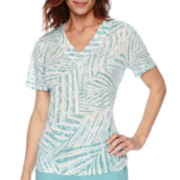Alfred Dunner® Sanibel Island Short-Sleeve Palm Print Top or Capris