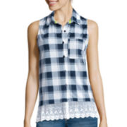 Almost Famous Sleeveless Lace Hem Plaid Top - Juniors