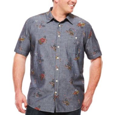 jcpenney.com | The Foundry Supply Co.™ Short-Sleeve Vintage Woven Shirt - Big & Tall