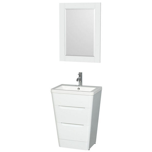 Caprice 24 inch Pedestal Bathroom Vanity; Acrylic-Resin Countertop; Integrated Sink; and 24 inch Mirror