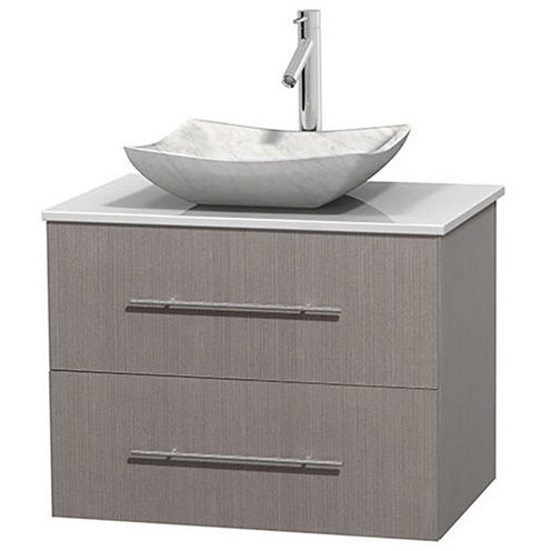 Centra 30 inch Single Bathroom Vanity; White Man-Made Stone Countertop; Avalon White Carrera MarbleSink; and No Mirror