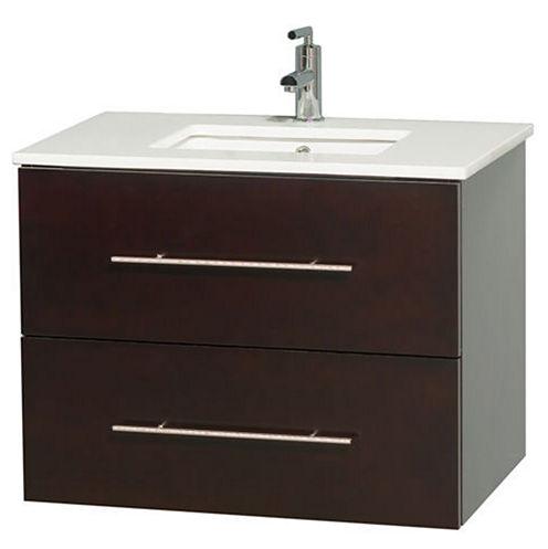 Centra 30 inch Single Bathroom Vanity; White Man-Made Stone Countertop; Undermount Square Sink; andNo Mirror